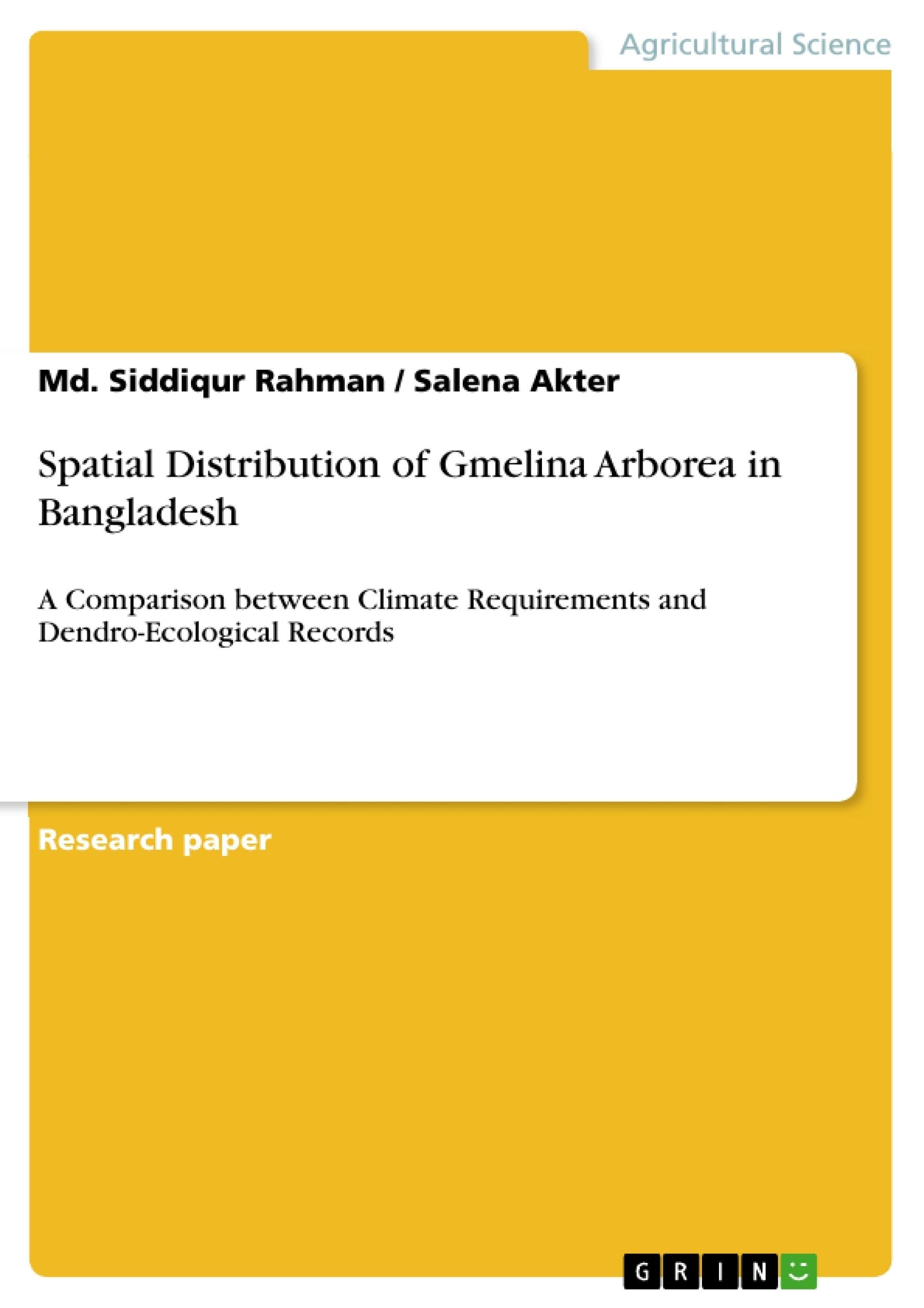 Title: Spatial Distribution of Gmelina Arborea in Bangladesh