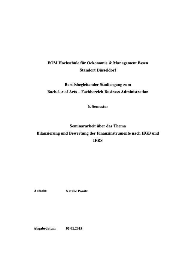 Titel: Bilanzierung und Bewertung der Finanzinstrumente nach HGB und IFRS