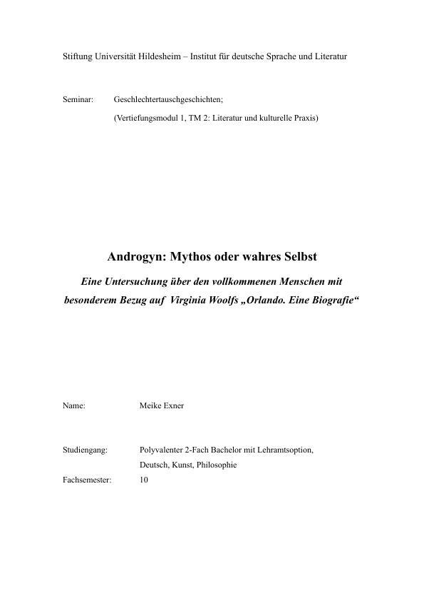 """Titel: Androgyn. Eine Untersuchung über den vollkommenen Menschen mit Bezug auf """"Orlando. Eine Biografie"""" von Virginia Woolf"""