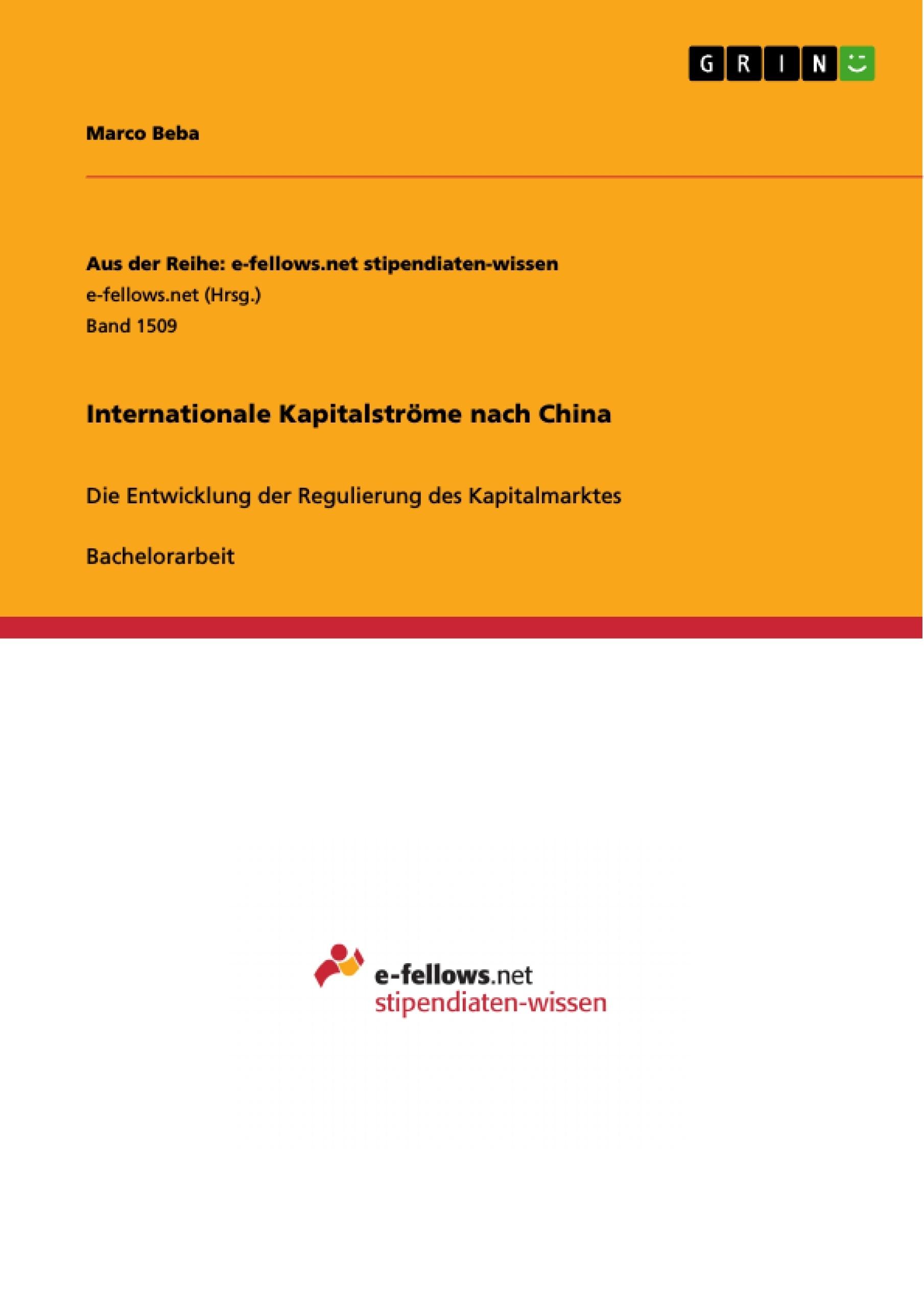 Titel: Internationale Kapitalströme nach China