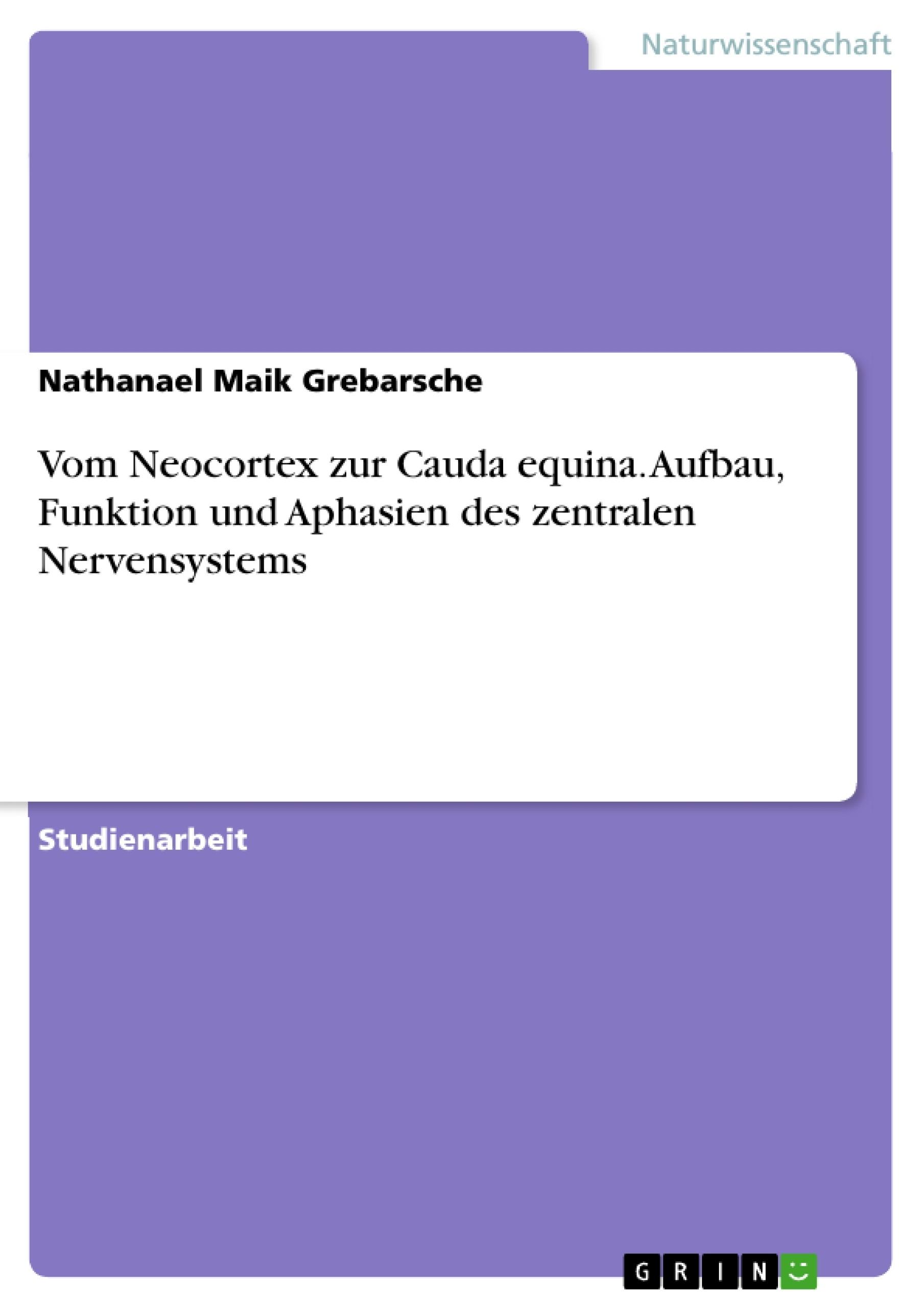 Titel: Vom Neocortex zur Cauda equina. Aufbau, Funktion und Aphasien des zentralen Nervensystems