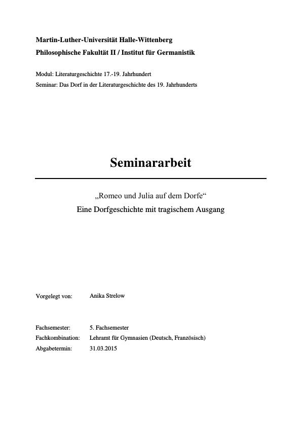 """Titel: """"Romeo und Julia auf dem Dorfe"""" von Gottfried Keller. Themen, Motive und Sozial- und Gesellschaftskritik"""