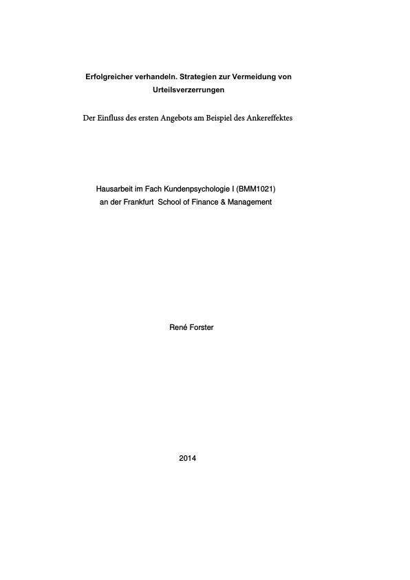 Titel: Erfolgreicher verhandeln. Strategien zur Vermeidung von Urteilsverzerrungen