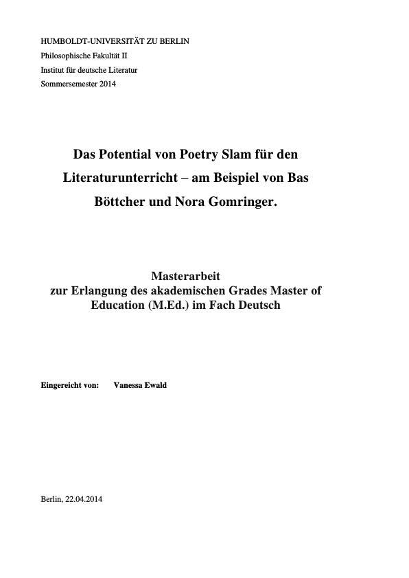 Titel: Das Potential von Poetry Slam für den Literaturunterricht. Analyse zweier Texte von Bas Böttcher und Nora Gomringer