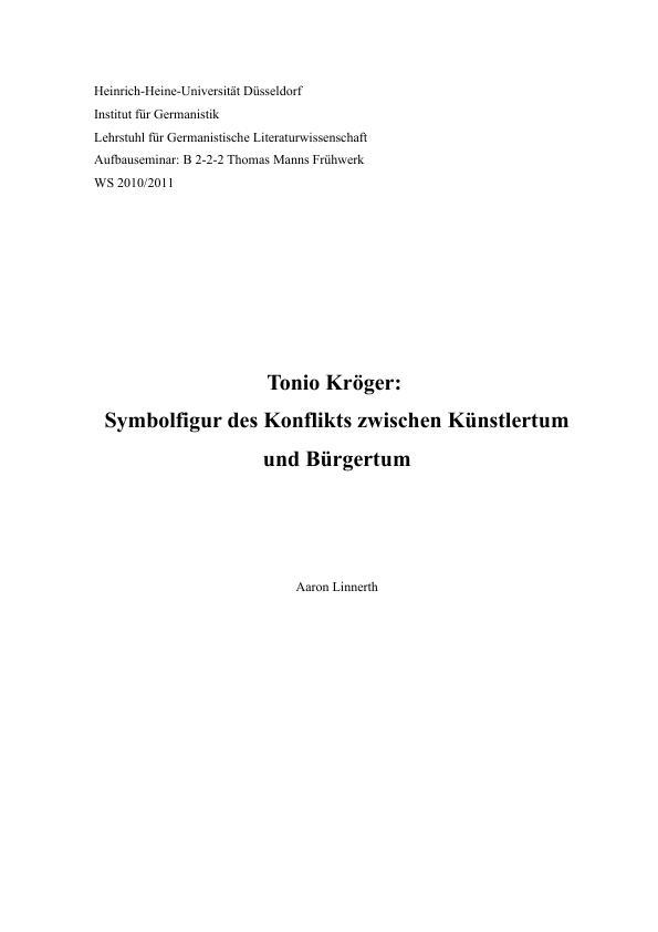 Titel: Tonio Kröger: Symbolfigur des Konflikts zwischen Künstlertum und Bürgertum
