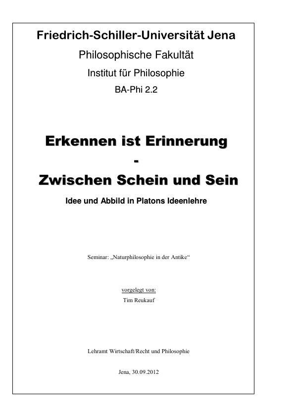 Titel: Idee und Abbild in Platons Ideenlehre. Erkennen ist Erinnerung