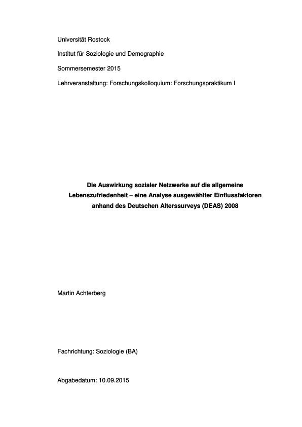 Titel: Die Auswirkung sozialer Netzwerke auf die allgemeine Lebenszufriedenheit