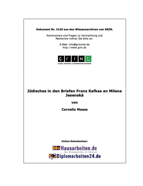 Titel: Jüdisches in den Briefen Franz Kafkas an Milena Jesenská