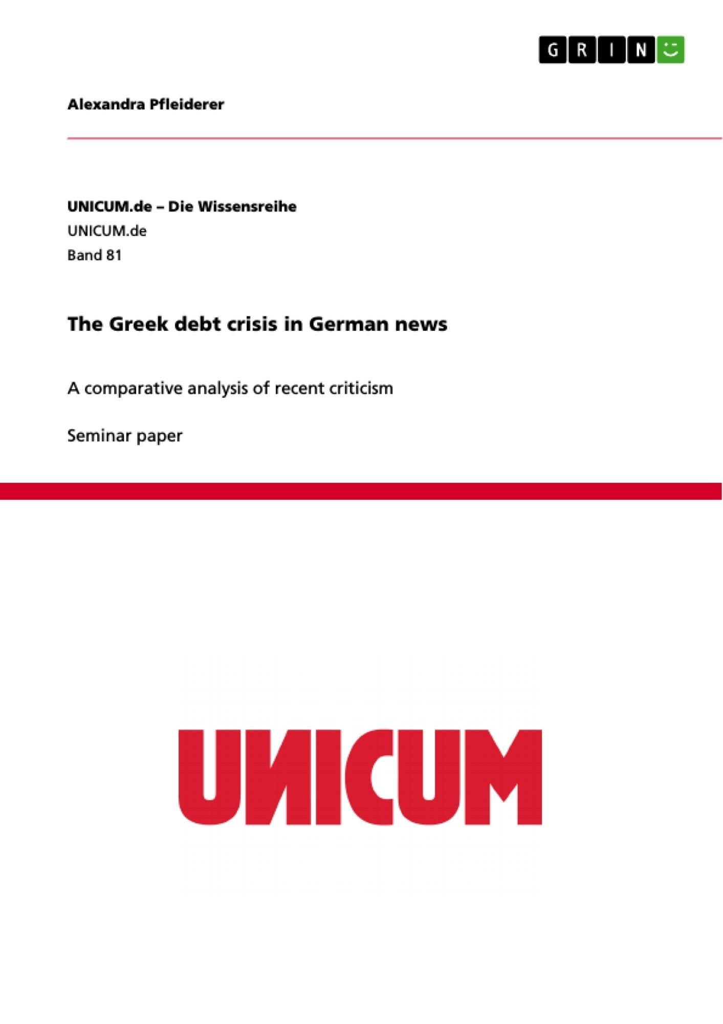 Title: The Greek debt crisis in German news