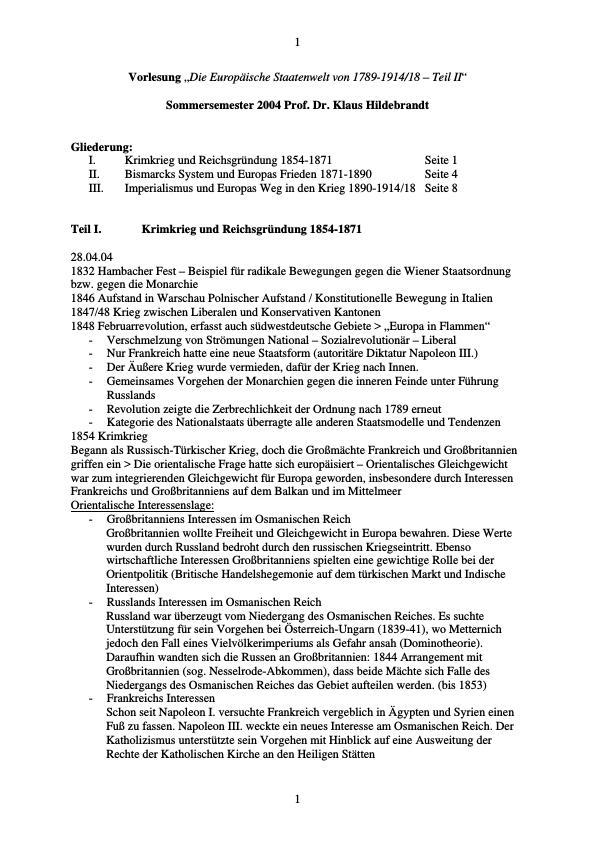 Titel: Geschichte der Europäischen Staatenwelt 1854-1914. Teil II