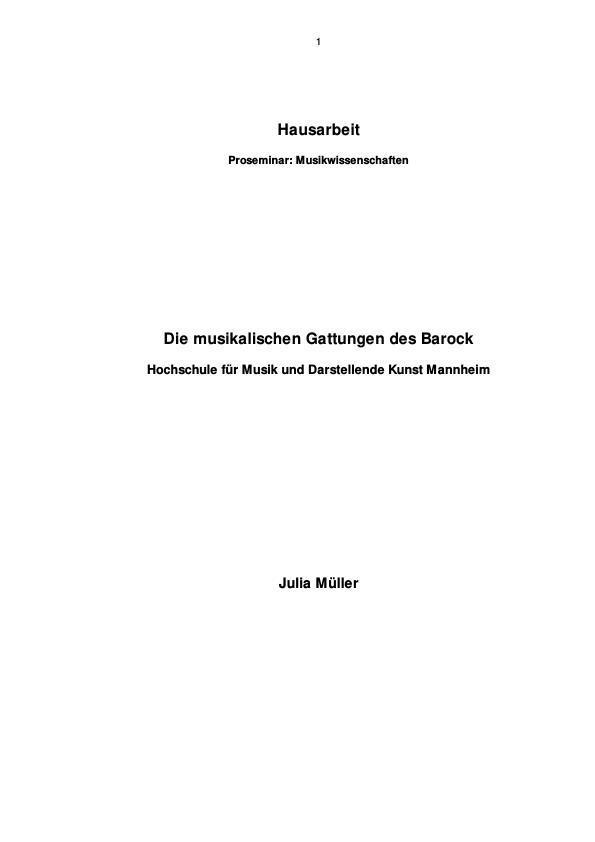 Titel: Die musikalischen Gattungen des Barock im Überblick