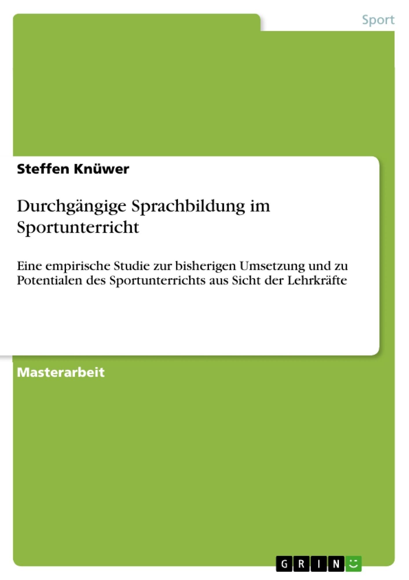Titel: Durchgängige Sprachbildung im Sportunterricht