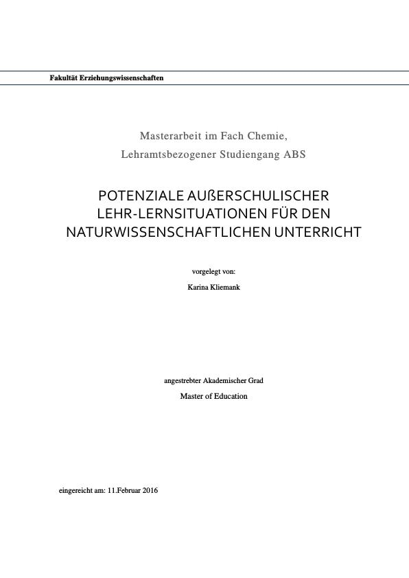 Titel: Chlorophyll in grünen Smoothies. Potenziale außerschulischer Lehr-Lernsituationen für den naturwissenschaftlichen Unterricht