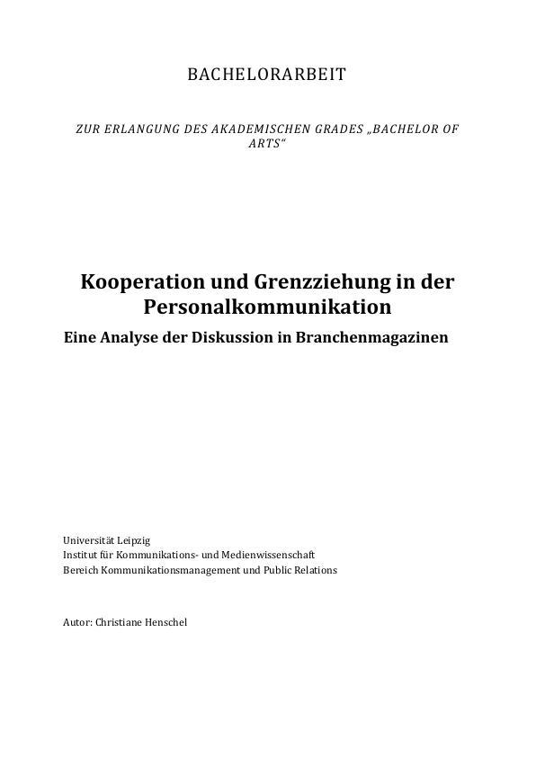 Titel: Kooperation und Grenzziehung in der Personalkommunikation. Eine Analyse der Diskussion in Branchenmagazinen