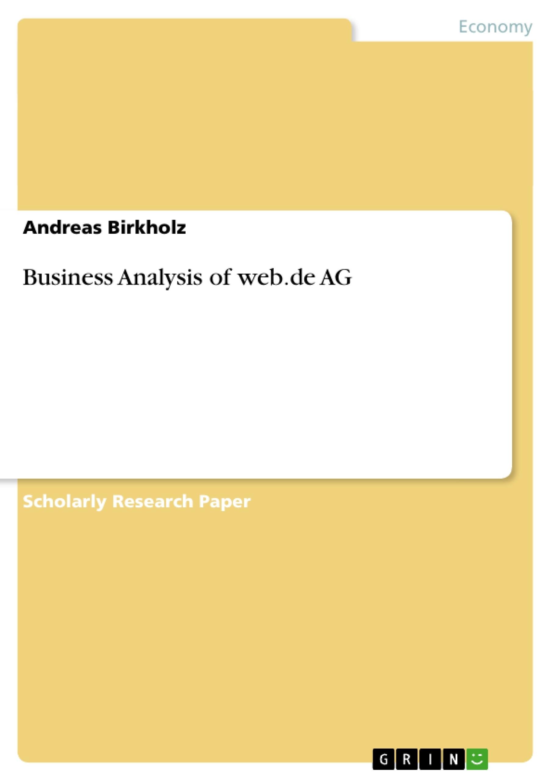 Title: Business Analysis of web.de AG
