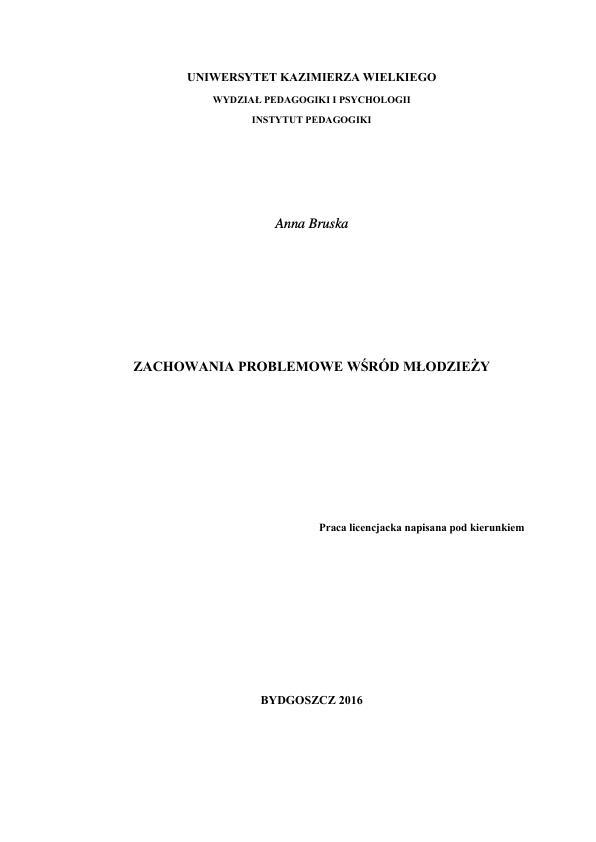 Title: Zachowania problemowe wśród młodzieży