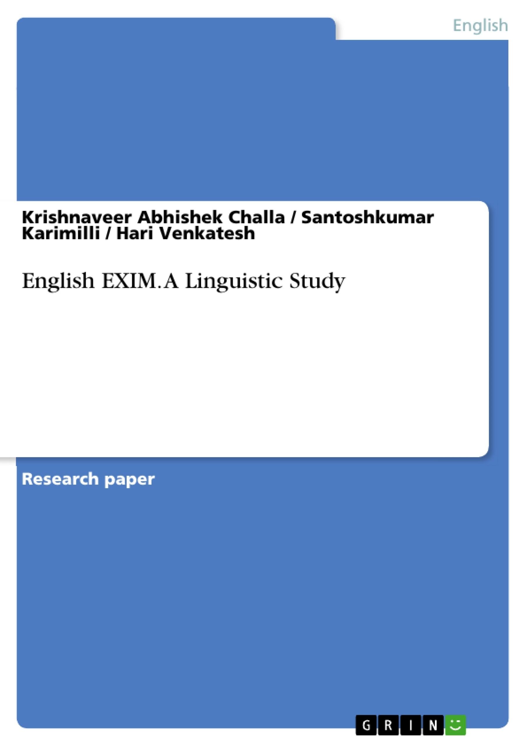Title: English EXIM. A Linguistic Study