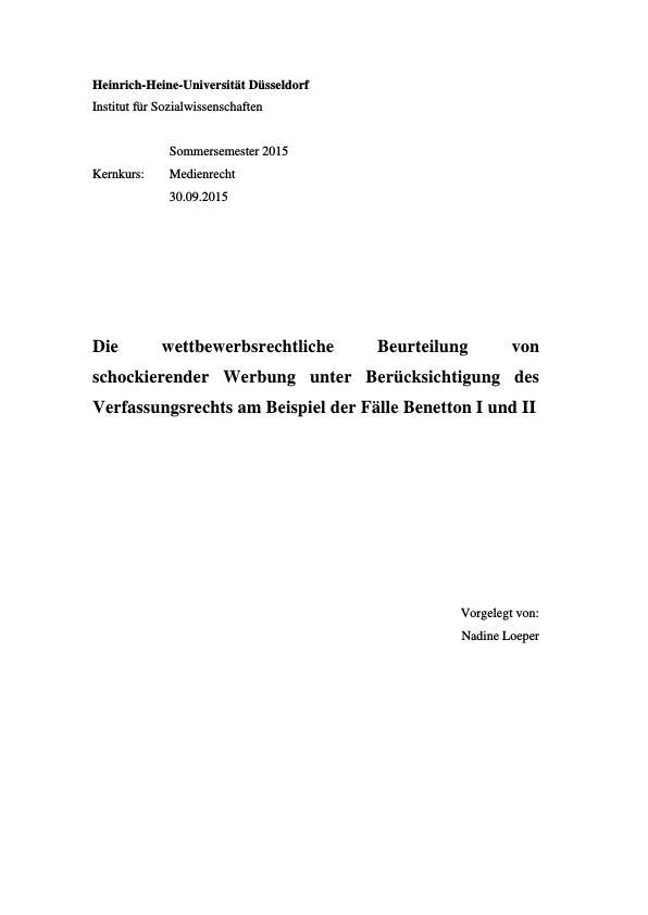 Titel: Schockwerbung und Wettbewerbsrecht. Beurteilung von schockierender Werbung unter Berücksichtigung des Verfassungsrechts