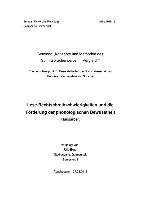Titel: Lese-Rechtschreibschwierigkeiten und die Förderung der phonologischen Bewusstheit