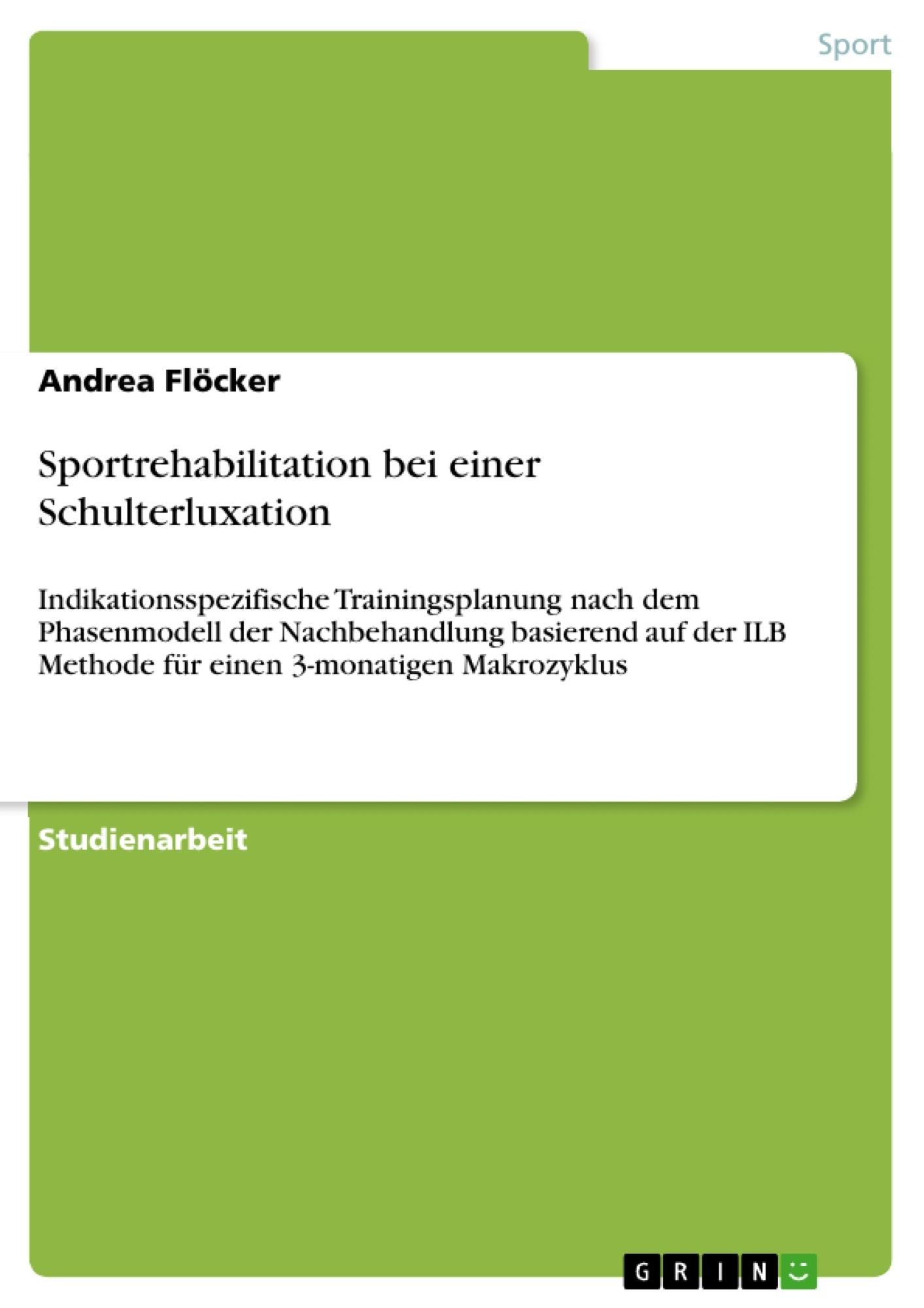 Titel: Sportrehabilitation bei einer Schulterluxation