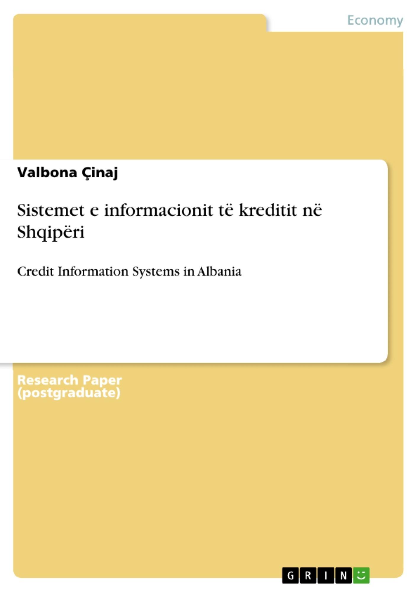 Title: Sistemet e informacionit të kreditit në Shqipëri