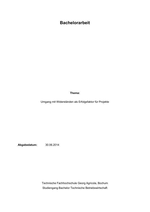 Titel: Erfolgreiches Projektmanagement. Wie der Umgang mit Widerständen zum Erfolgsfaktor werden kann