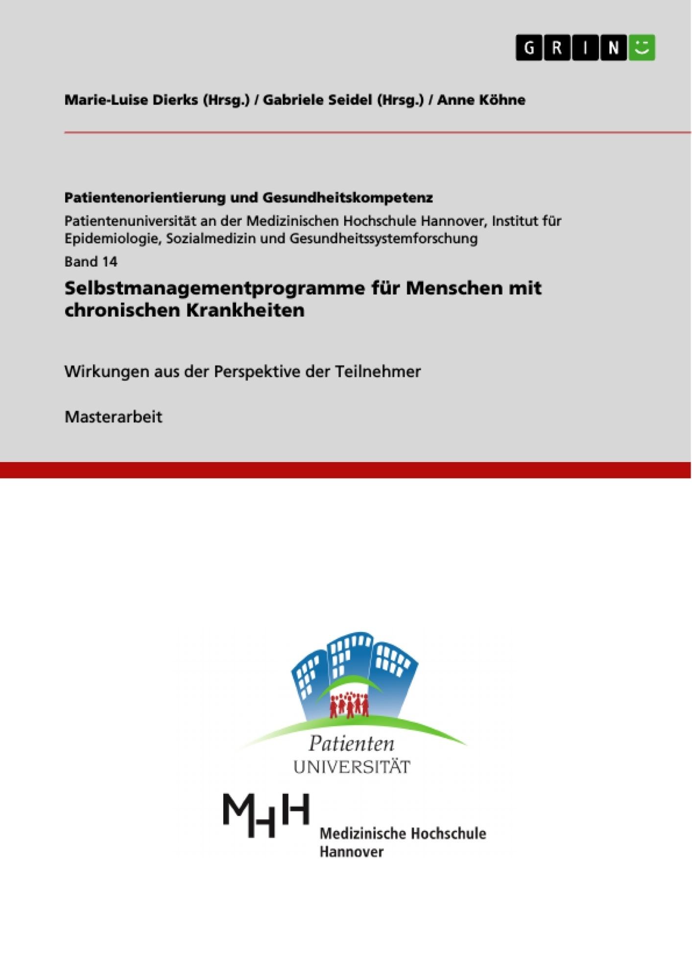 Titel: Selbstmanagementprogramme für Menschen mit chronischen Krankheiten