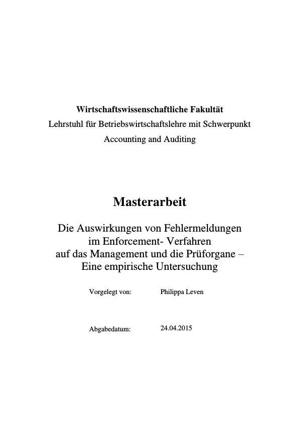 Titel: Auswirkungen von Fehlermeldungen im Enforcement-Verfahren auf das Management und die Prüforgane. Eine empirische Untersuchung