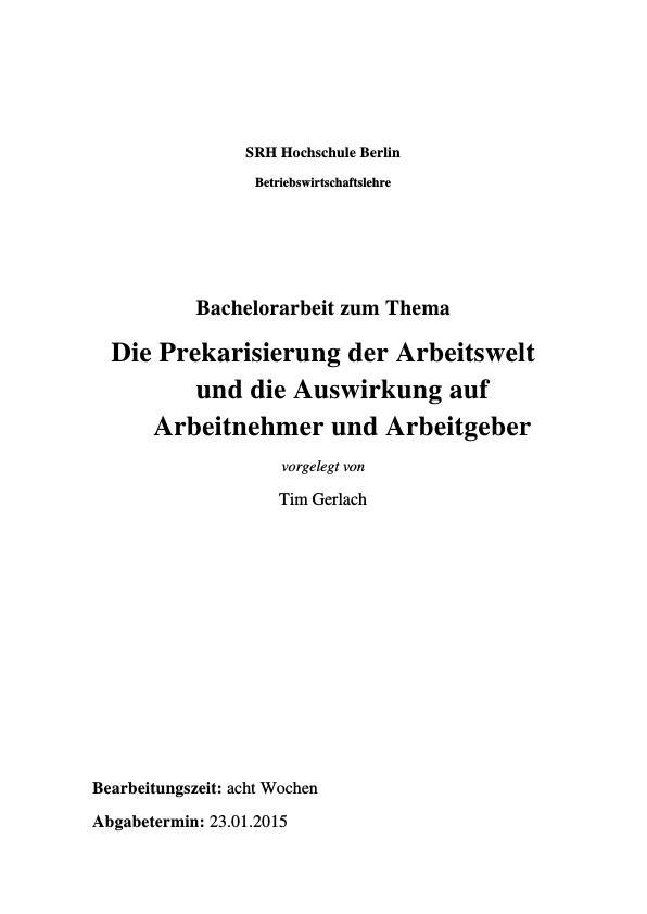 Titel: Prekarisierung der Arbeitswelt. Auswirkungen auf Arbeitnehmer und Arbeitgeber