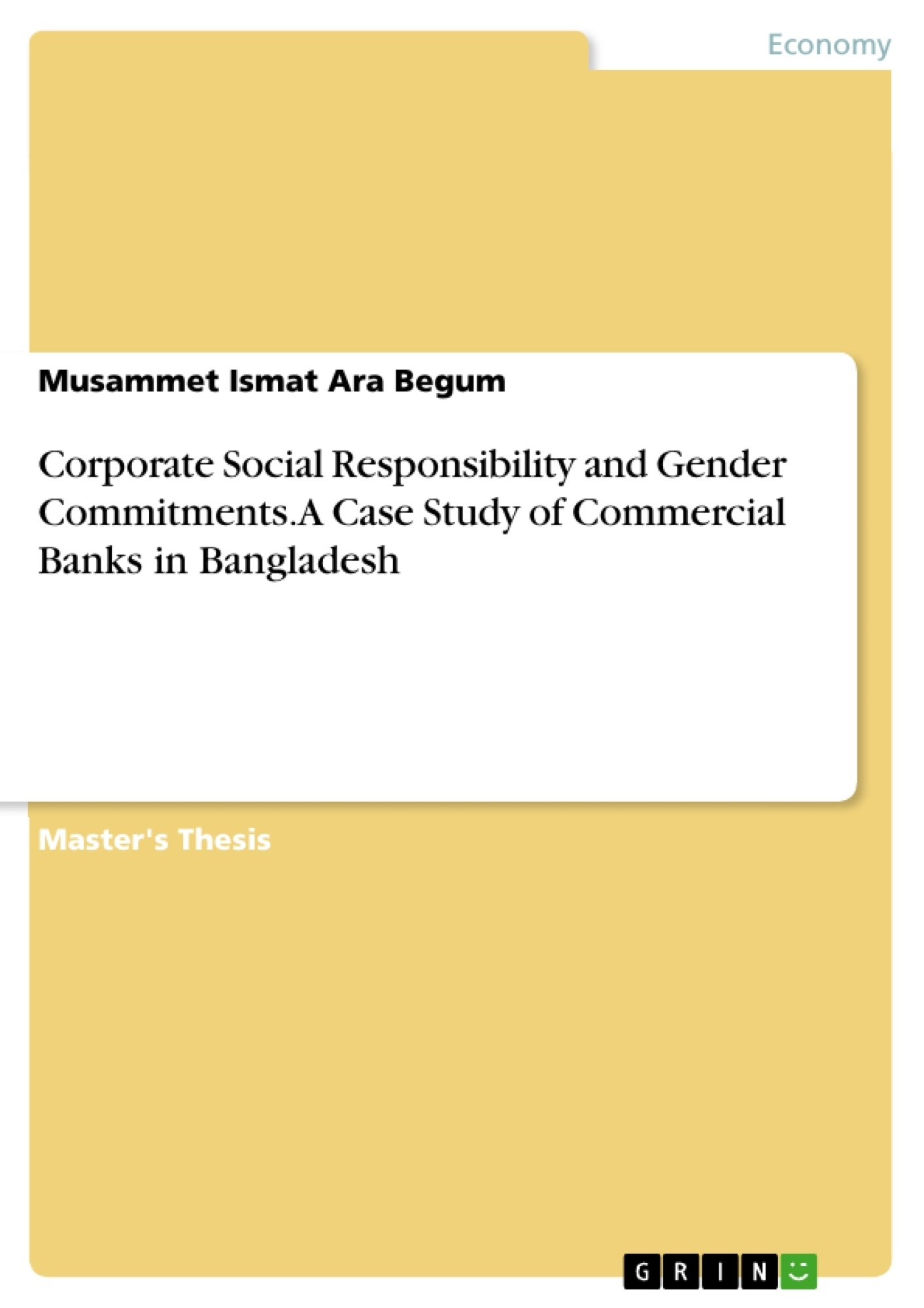 Title: Corporate Social Responsibility and Gender Commitments. A Case Study of Commercial Banks in Bangladesh