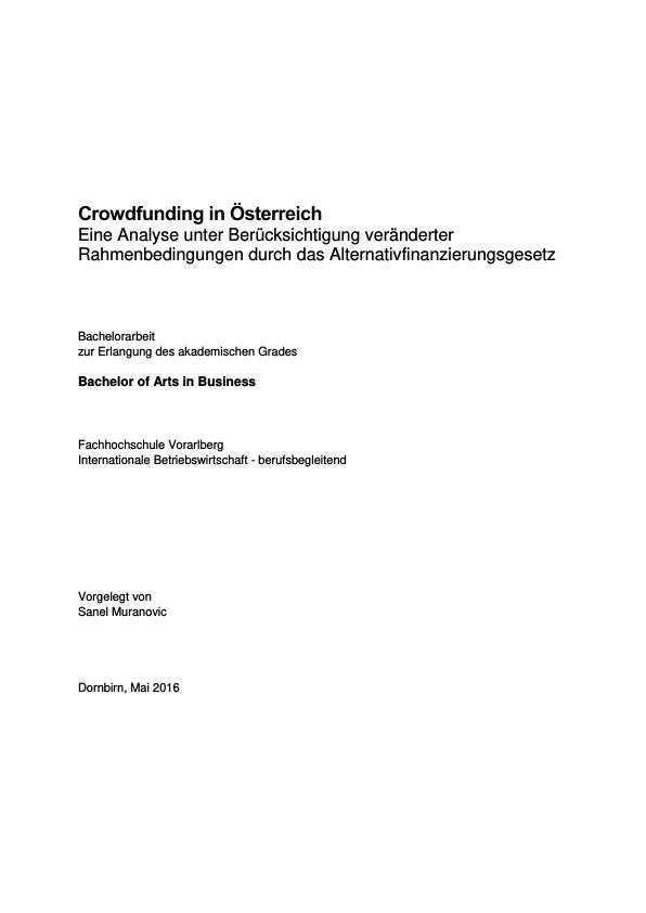 Titel: Crowdfunding in Österreich. Crowdinvesting als Anlageinstrument