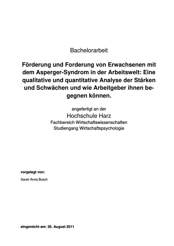 Titel: Förderung und Forderung von Erwachsenen mit Asperger-Syndrom in der Arbeitswelt