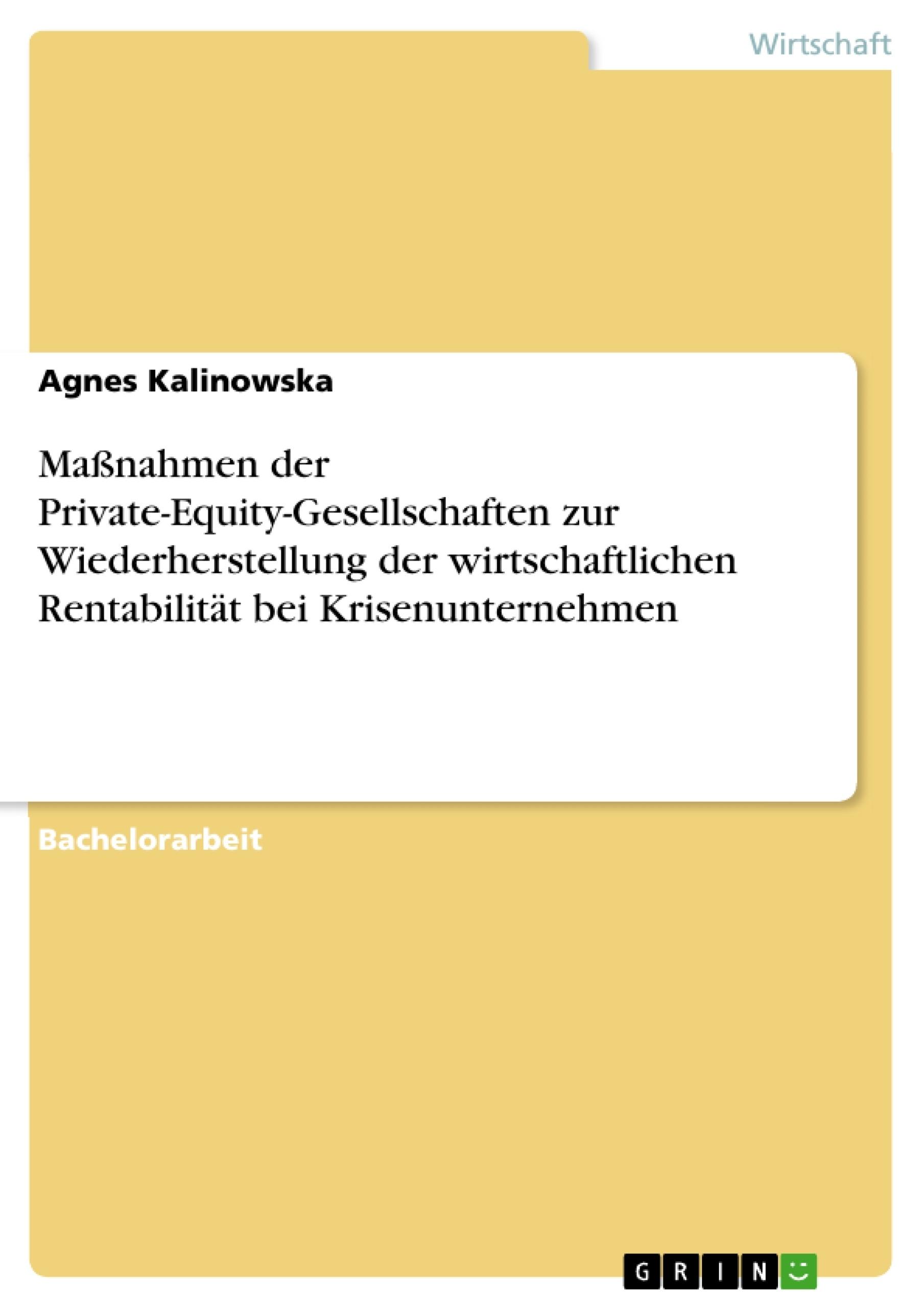 Titel: Maßnahmen der Private-Equity-Gesellschaften zur Wiederherstellung der wirtschaftlichen Rentabilität bei Krisenunternehmen