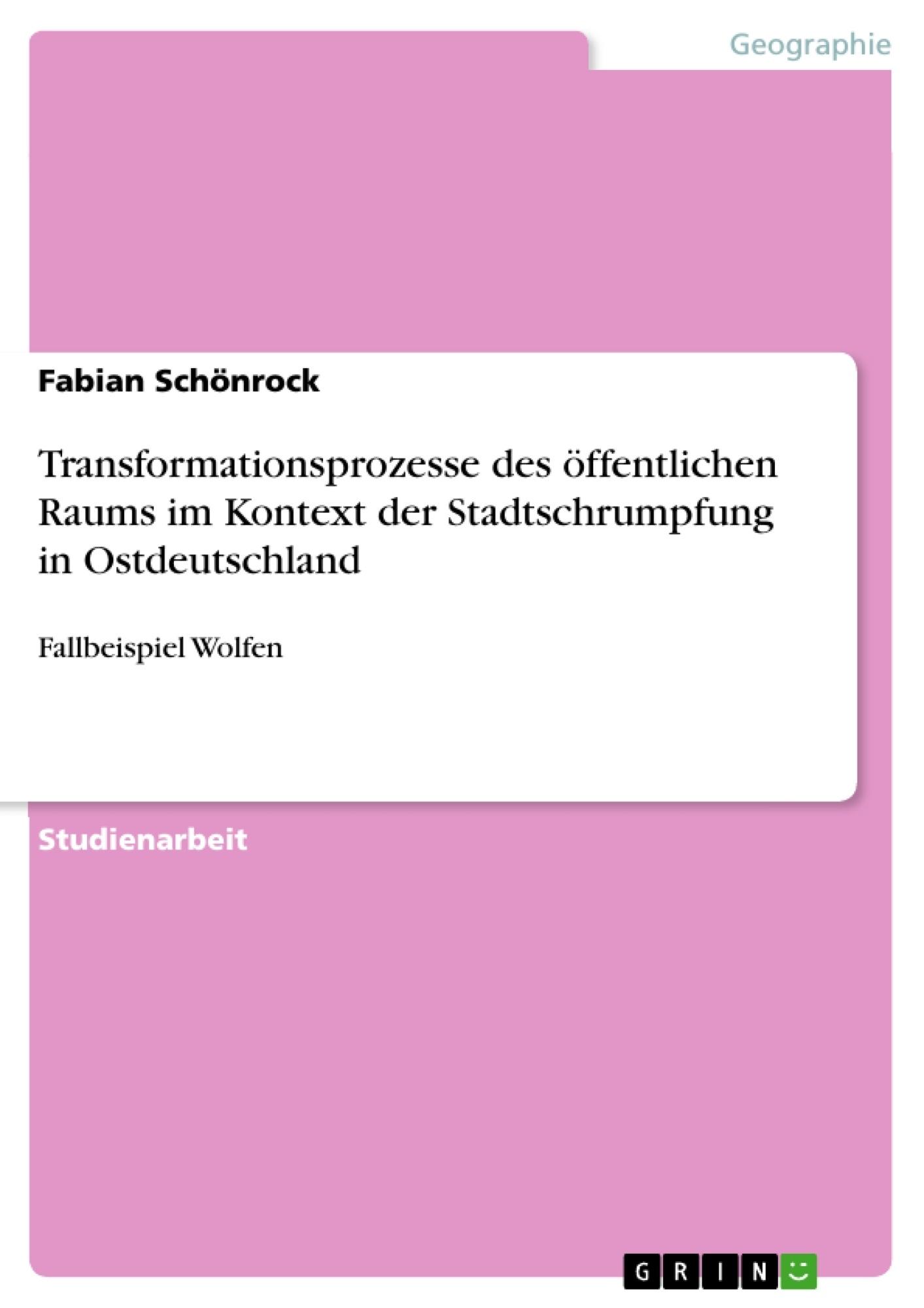 Titel: Transformationsprozesse des öffentlichen Raums im Kontext der Stadtschrumpfung in Ostdeutschland