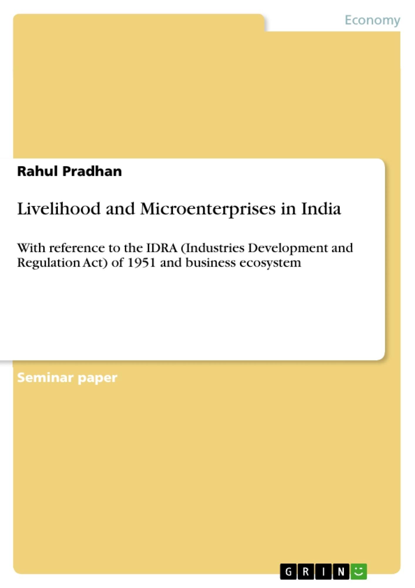 Title: Livelihood and Microenterprises in India