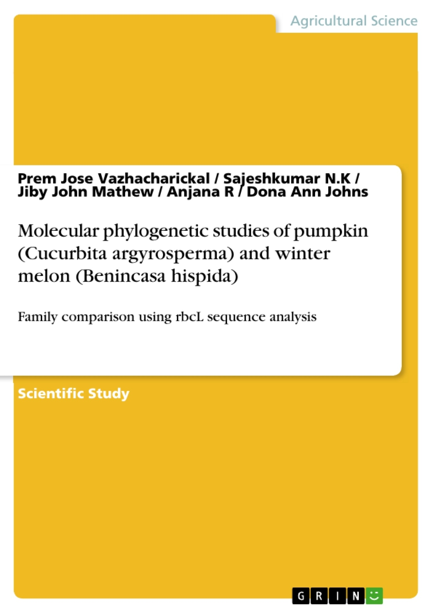 Title: Molecular phylogenetic studies of pumpkin (Cucurbita argyrosperma) and winter melon (Benincasa hispida)