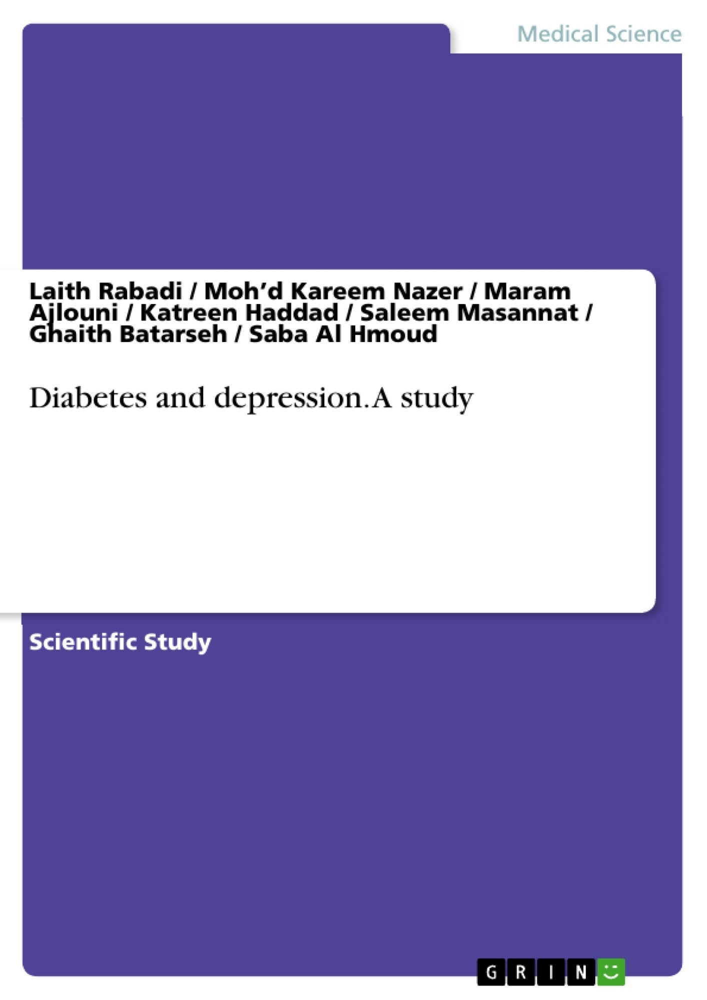 Title: Diabetes and depression. A study