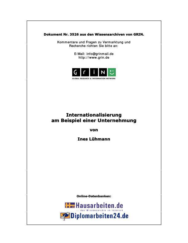Titel: Internationalisierung am Beispiel einer Unternehmung