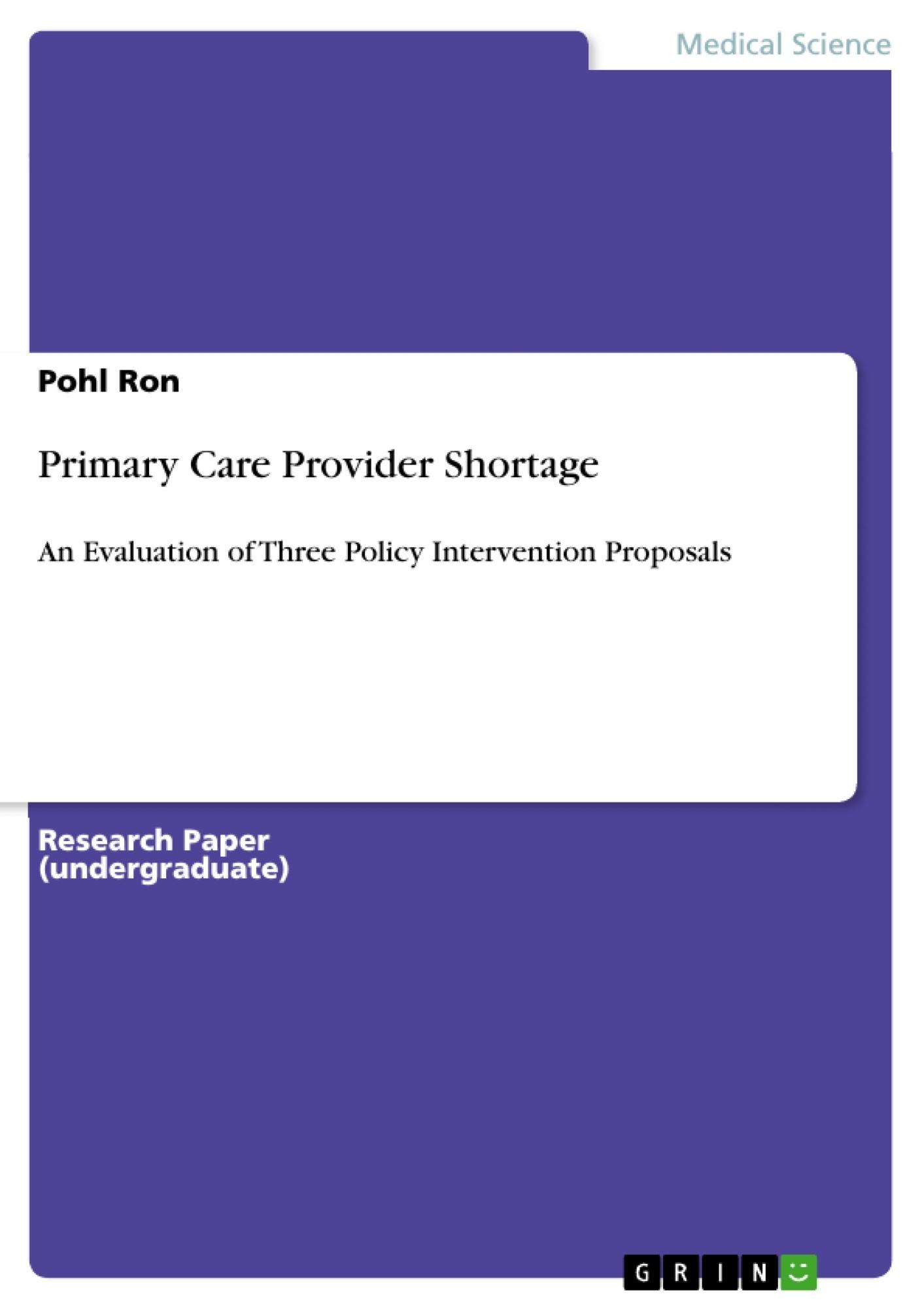 Title: Primary Care Provider Shortage