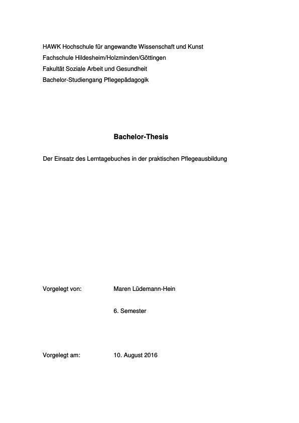 Titel: Einsatz des Lerntagebuches in der praktischen Pflegeausbildung