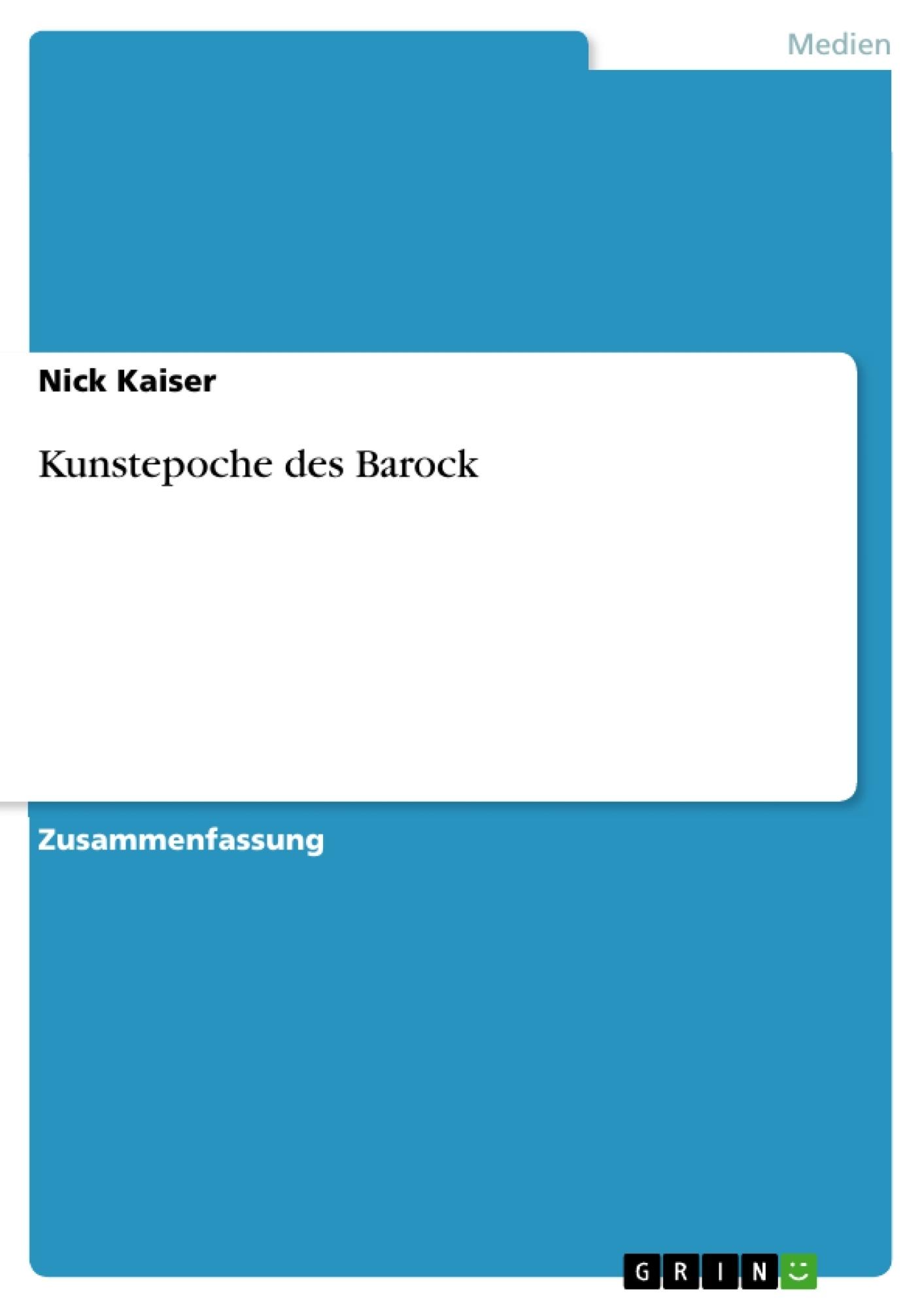 Titel: Kunstepoche des Barock