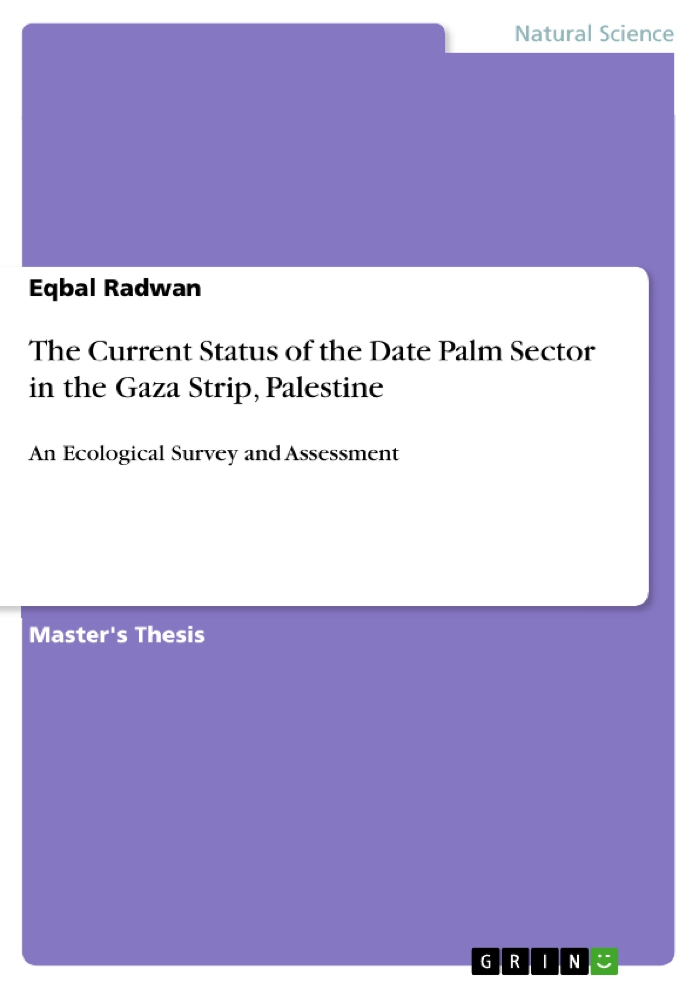 Title: The Current Status of the Date Palm Sector in the Gaza Strip, Palestine