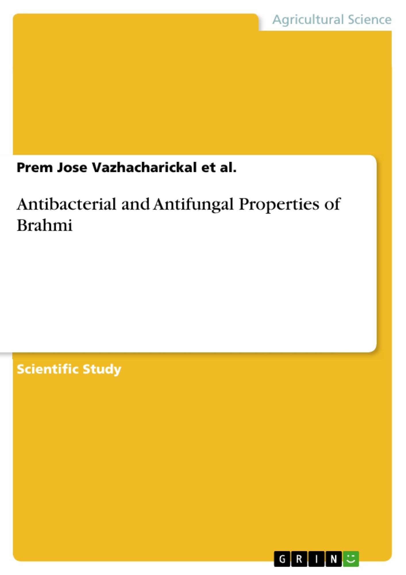 Title: Antibacterial and Antifungal Properties of Brahmi