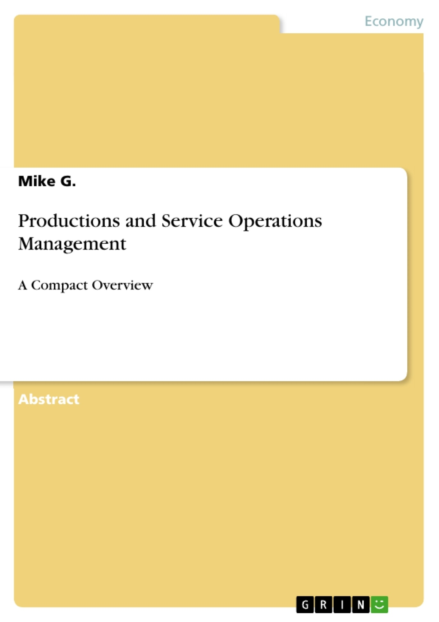 Title: Productions and Service Operations Management
