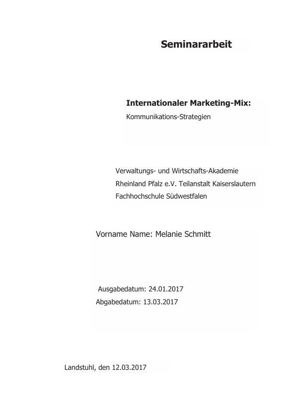 Titel: Internationaler Marketing-Mix. Kommunikations-Strategien