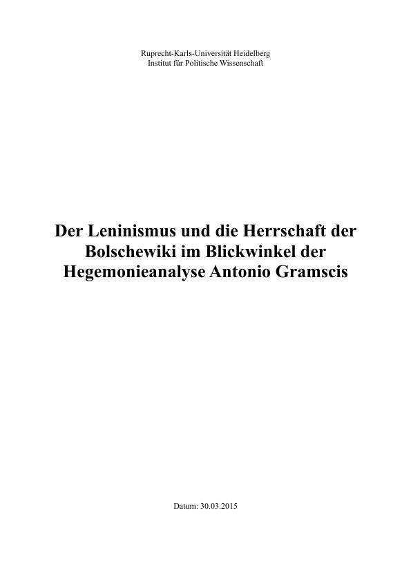 Titel: Gramscis Hegemonieanalyse im Bezug auf den Leninismus und die Herrschaft der Bolschewiki