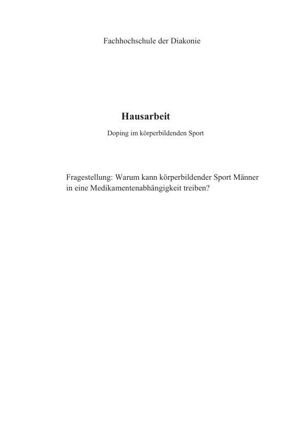 Titel: Doping im körperbildenden Sport