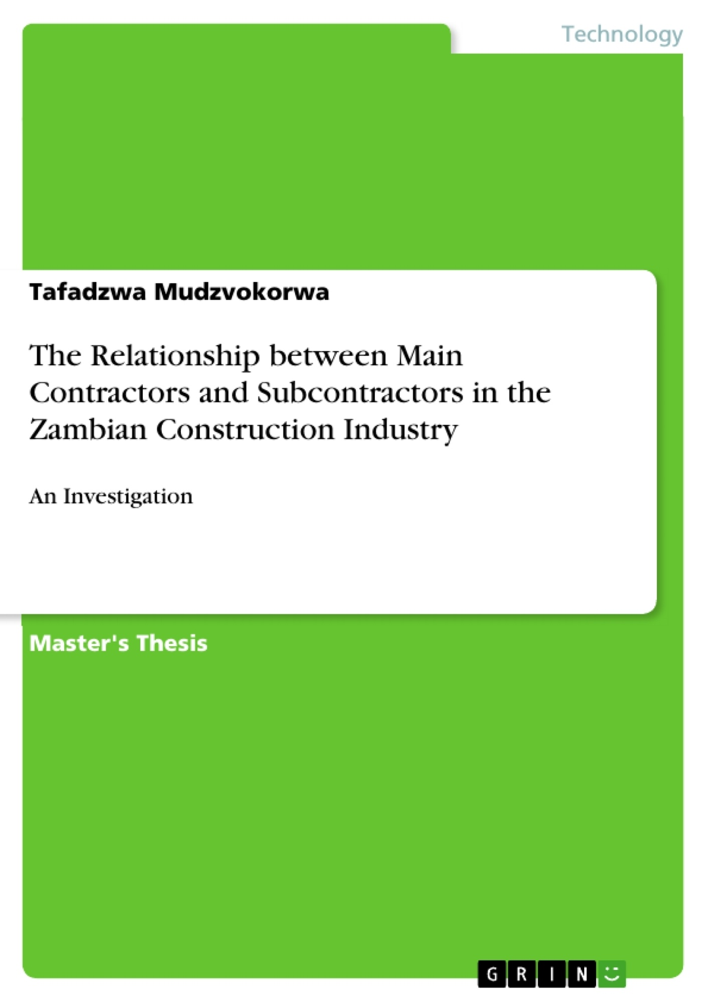 GRIN - The Relationship between Main Contractors and Subcontractors in the  Zambian Construction Industry