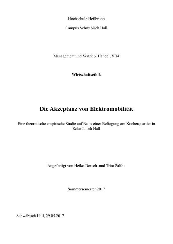 Titel: Die Akzeptanz von Elektromobilität
