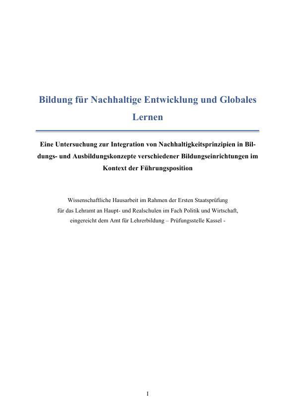 Titel: Bildung für eine Nachhaltige Entwicklung und Globales Lernen